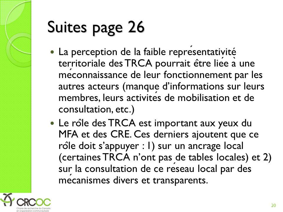 Suites page 26 La perception de la faible representativité territoriale des TRCA pourrait e ̂ tre liee a ̀ une meconnaissance de leur fonctionnement p