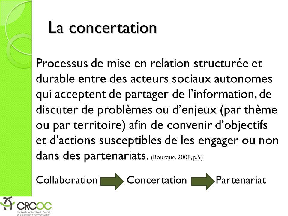 La concertation Processus de mise en relation structurée et durable entre des acteurs sociaux autonomes qui acceptent de partager de l'information, de