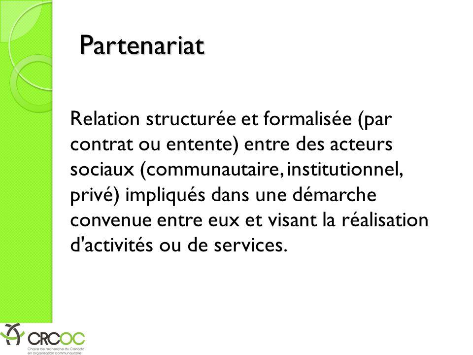 Partenariat Relation structurée et formalisée (par contrat ou entente) entre des acteurs sociaux (communautaire, institutionnel, privé) impliqués dans