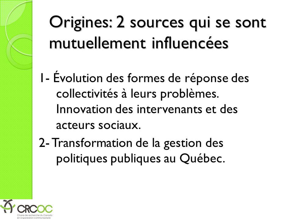 Origines: 2 sources qui se sont mutuellement influencées 1- Évolution des formes de réponse des collectivités à leurs problèmes. Innovation des interv