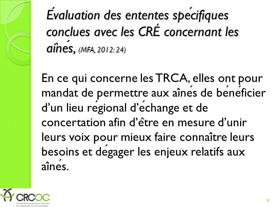 Evaluation des ententes specifiques conclues avec les CRÉ concernant les ai ̂ nes, (MFA, 2012: 24) En ce qui concerne les TRCA, elles ont pour mandat