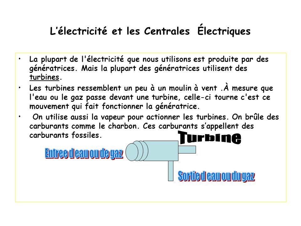 L'électricité et les Centrales Électriques La plupart de l'électricité que nous utilisons est produite par des génératrices. Mais la plupart des génér