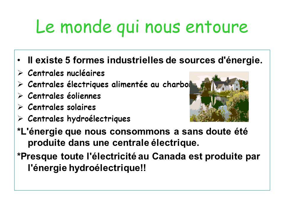 Le monde qui nous entoure Il existe 5 formes industrielles de sources d'énergie.  Centrales nucléaires  Centrales électriques alimentée au charbon 