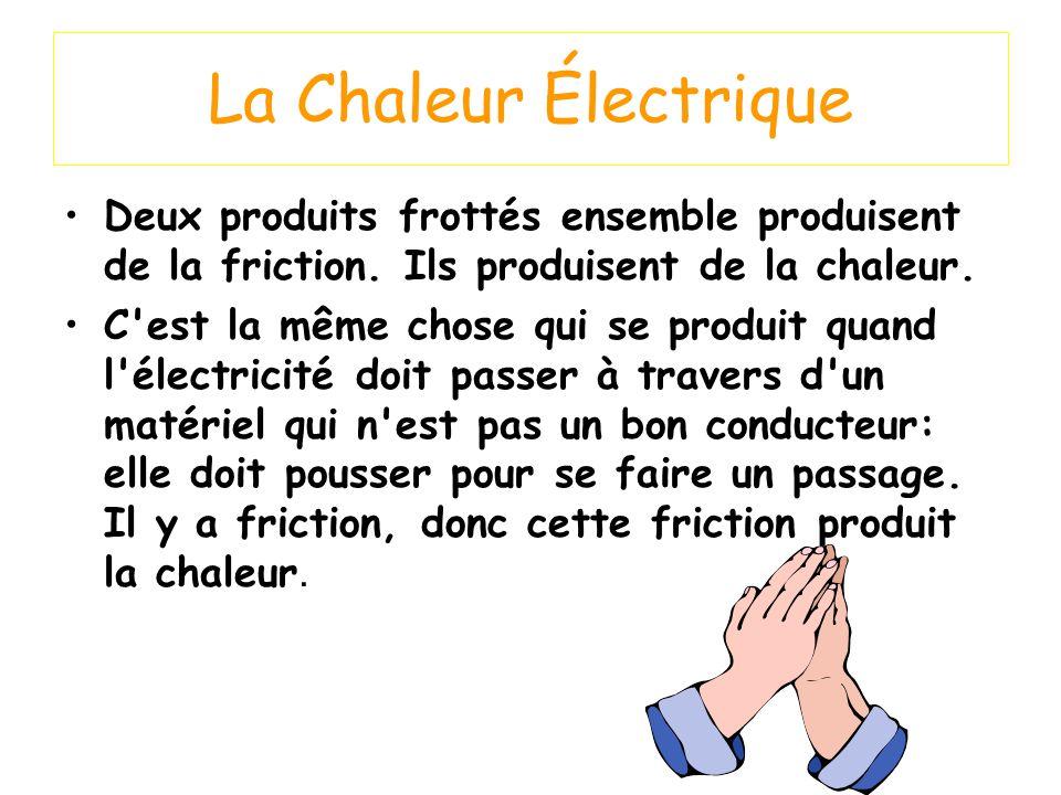 La Chaleur Électrique Deux produits frottés ensemble produisent de la friction. Ils produisent de la chaleur. C'est la même chose qui se produit quand