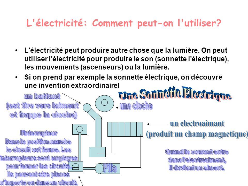 L'électricité: Comment peut-on l'utiliser? L'électricité peut produire autre chose que la lumière. On peut utiliser l'électricité pour produire le son