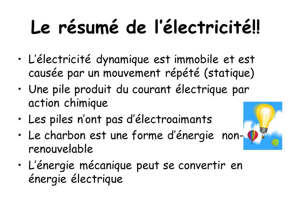Le résumé de l'électricité!! L'électricité dynamique est immobile et est causée par un mouvement répété (statique) Une pile produit du courant électri