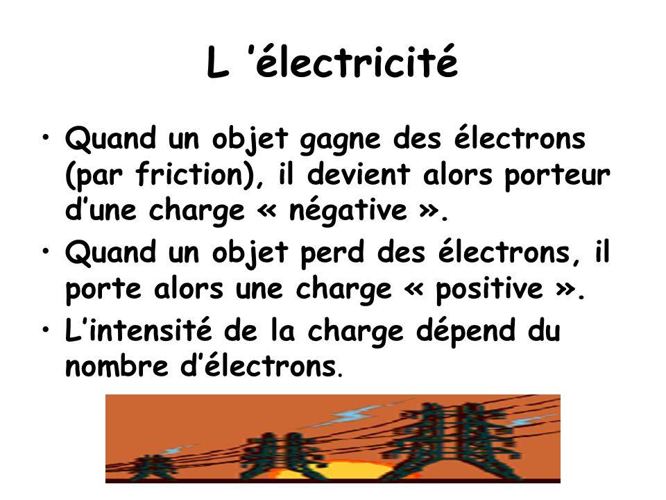 L 'électricité Quand un objet gagne des électrons (par friction), il devient alors porteur d'une charge « négative ». Quand un objet perd des électron
