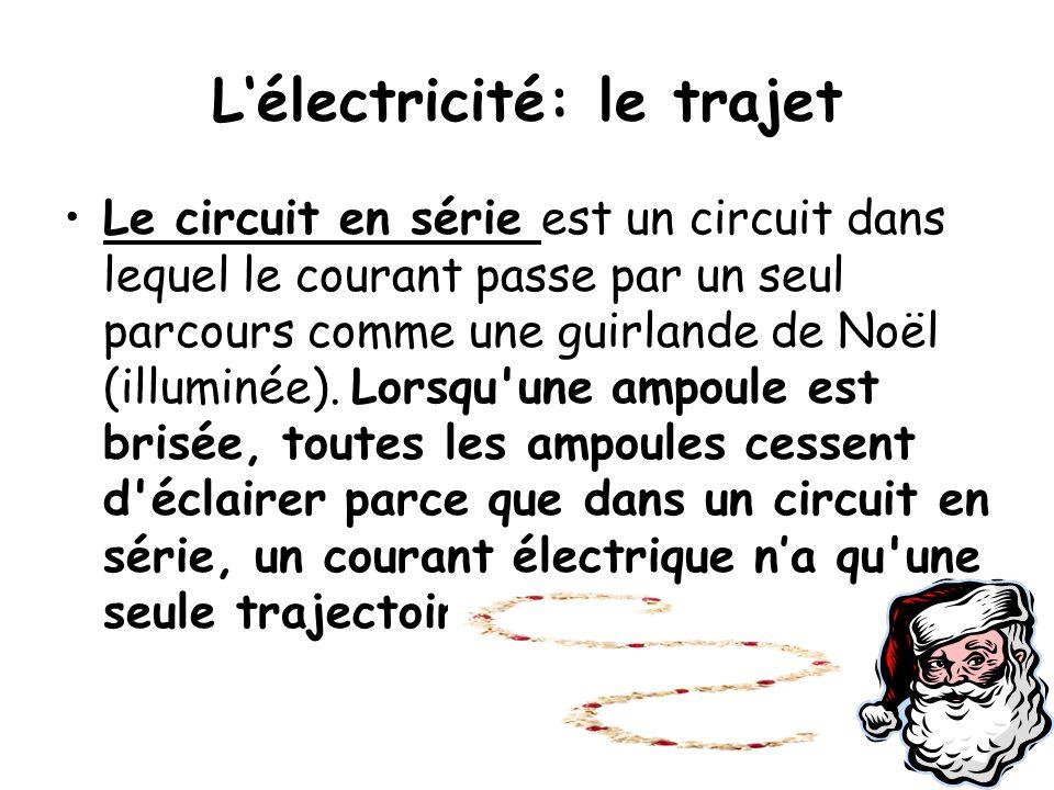 L'électricité: le trajet Le circuit en série est un circuit dans lequel le courant passe par un seul parcours comme une guirlande de Noël (illuminée).