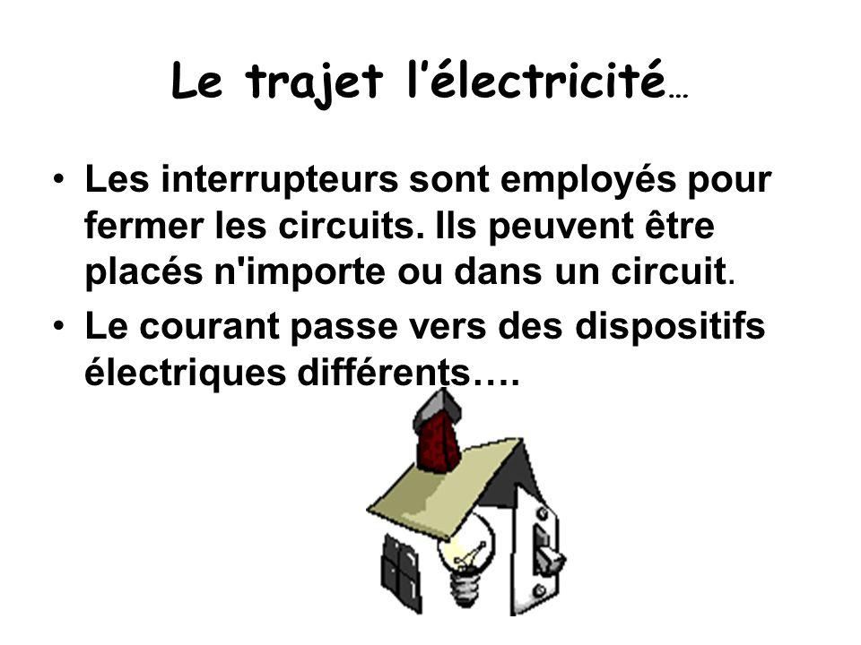 Le trajet l'électricité … Les interrupteurs sont employés pour fermer les circuits. Ils peuvent être placés n'importe ou dans un circuit. Le courant p