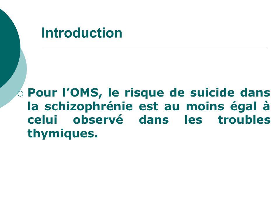 Introduction  Pour l'OMS, le risque de suicide dans la schizophrénie est au moins égal à celui observé dans les troubles thymiques.