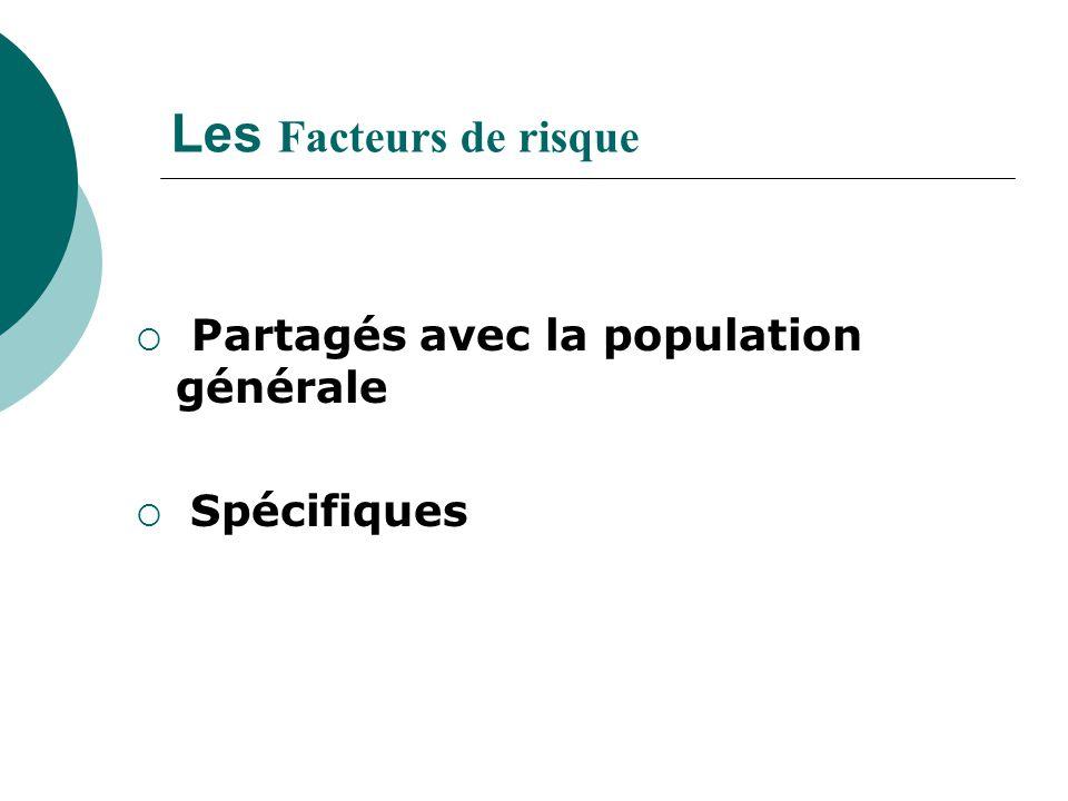 Les Facteurs de risque  Partagés avec la population générale  Spécifiques