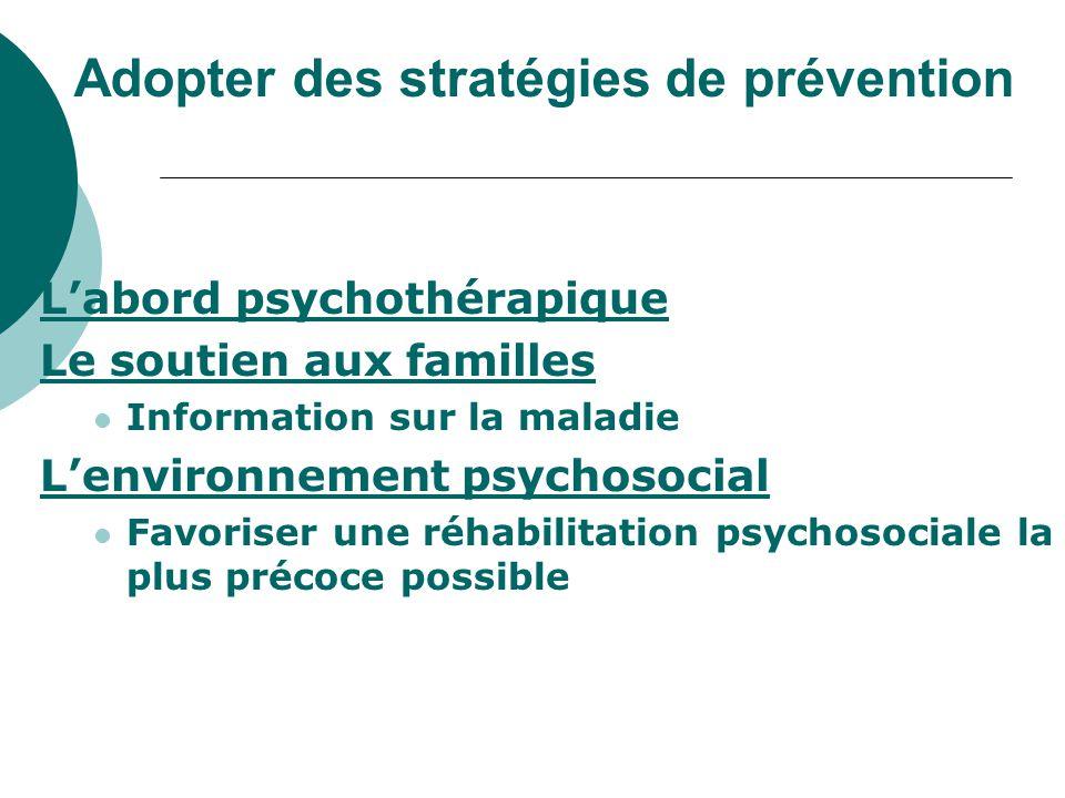 Adopter des stratégies de prévention L'abord psychothérapique Le soutien aux familles Information sur la maladie L'environnement psychosocial Favorise