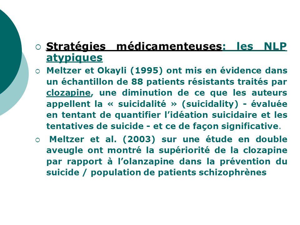  Stratégies médicamenteuses: les NLP atypiques  Meltzer et Okayli (1995) ont mis en évidence dans un échantillon de 88 patients résistants traités p
