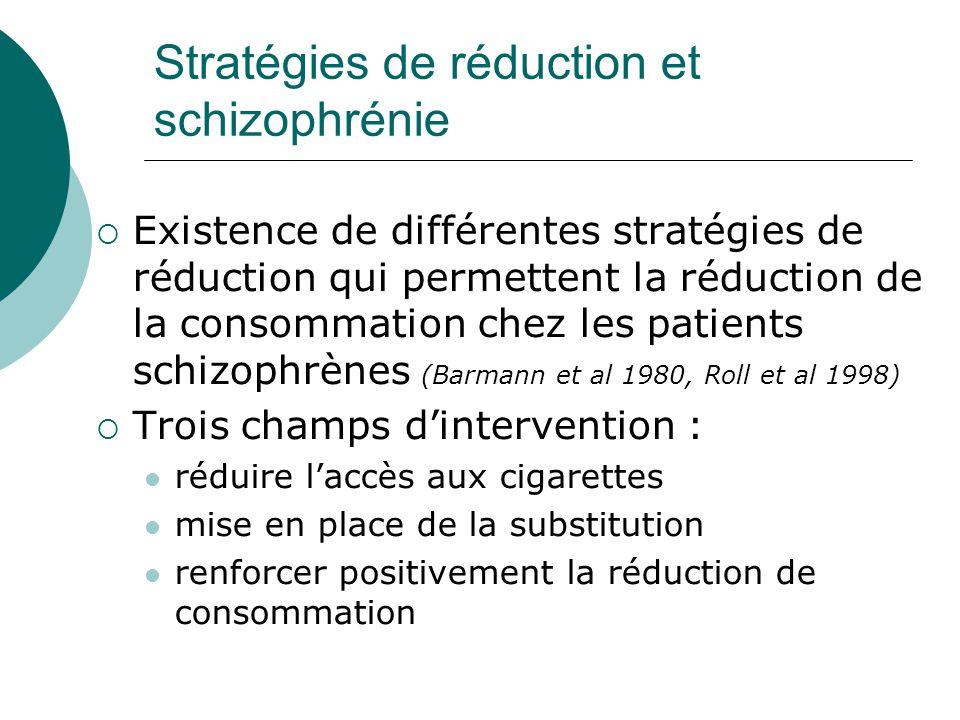 Stratégies de réduction et schizophrénie  Existence de différentes stratégies de réduction qui permettent la réduction de la consommation chez les pa
