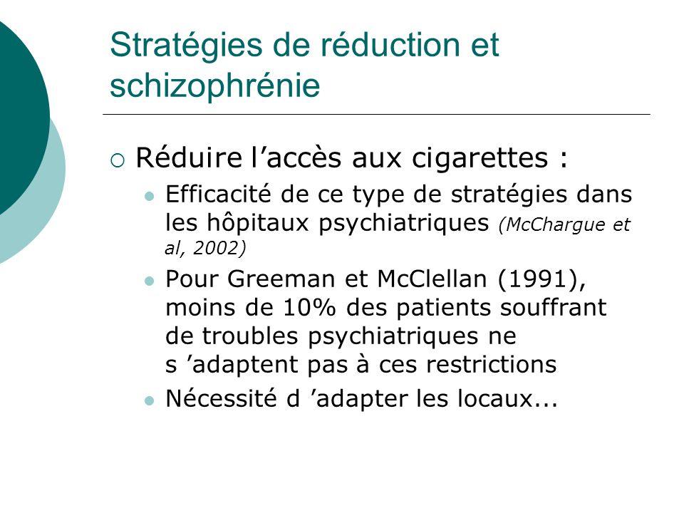 Stratégies de réduction et schizophrénie  Réduire l'accès aux cigarettes : Efficacité de ce type de stratégies dans les hôpitaux psychiatriques (McCh