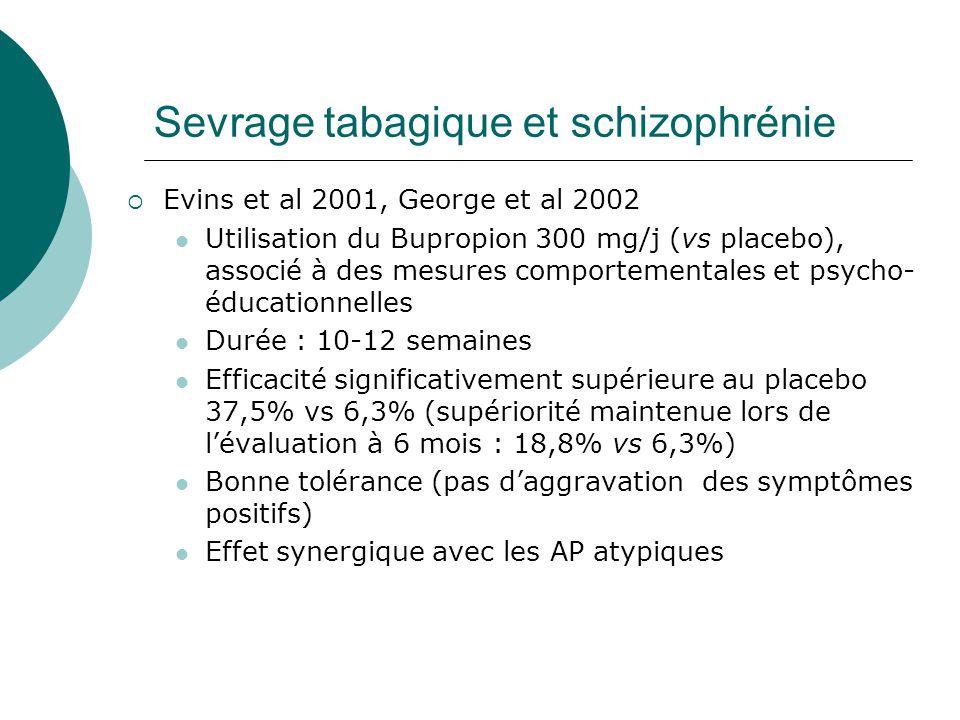 Sevrage tabagique et schizophrénie  Evins et al 2001, George et al 2002 Utilisation du Bupropion 300 mg/j (vs placebo), associé à des mesures comport