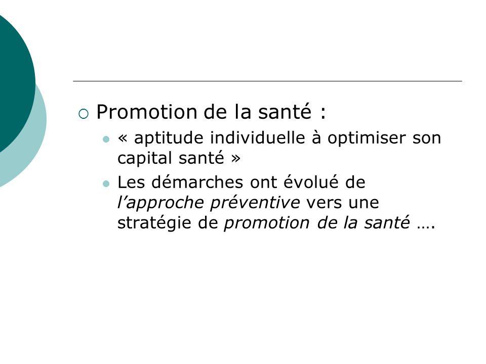  Promotion de la santé : « aptitude individuelle à optimiser son capital santé » Les démarches ont évolué de l'approche préventive vers une stratégie