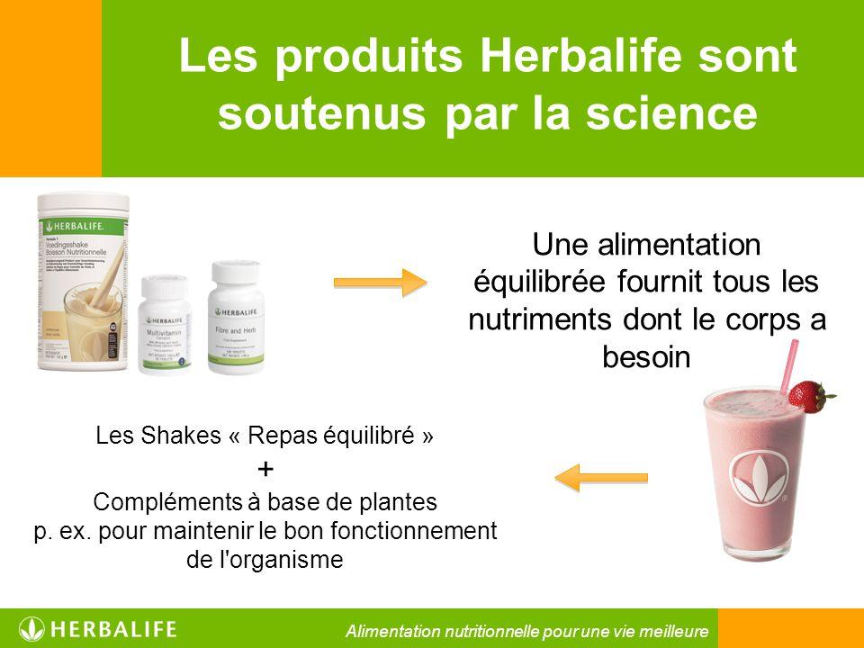 Les produits Herbalife sont soutenus par la science Une alimentation équilibrée fournit tous les nutriments dont le corps a besoin Les Shakes « Repas