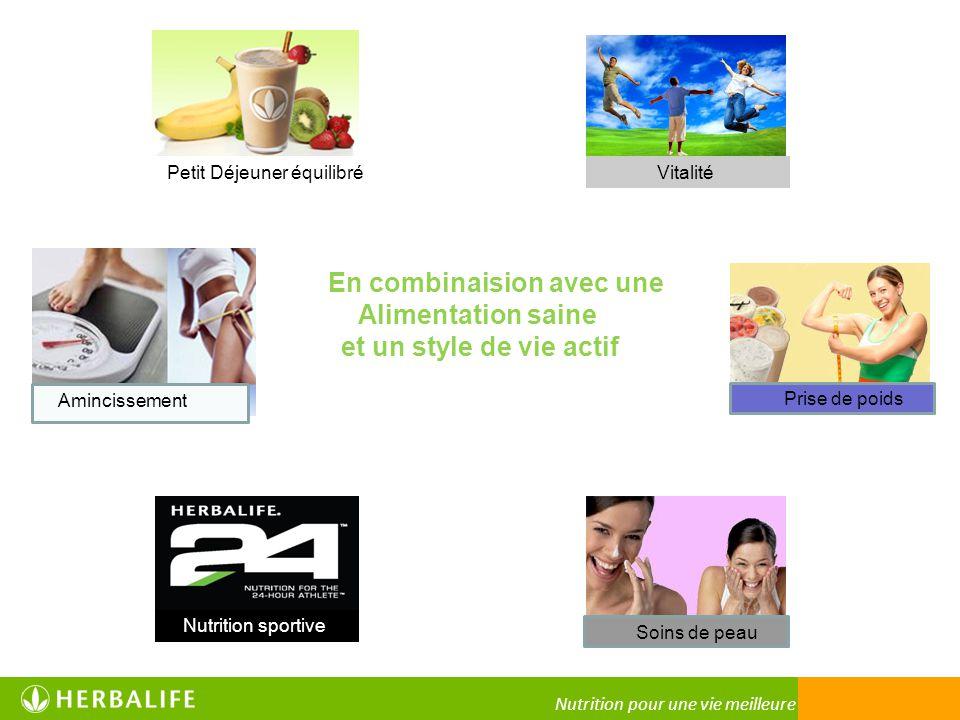 Nutrition pour une vie meilleure En combinaision avec une Alimentation saine et un style de vie actif Vitalité Prise de poids Soins de peau Nutrition