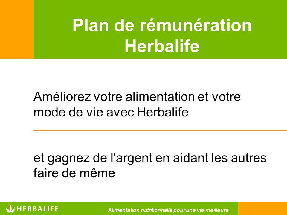 Plan de rémunération Herbalife Améliorez votre alimentation et votre mode de vie avec Herbalife et gagnez de l'argent en aidant les autres faire de mê