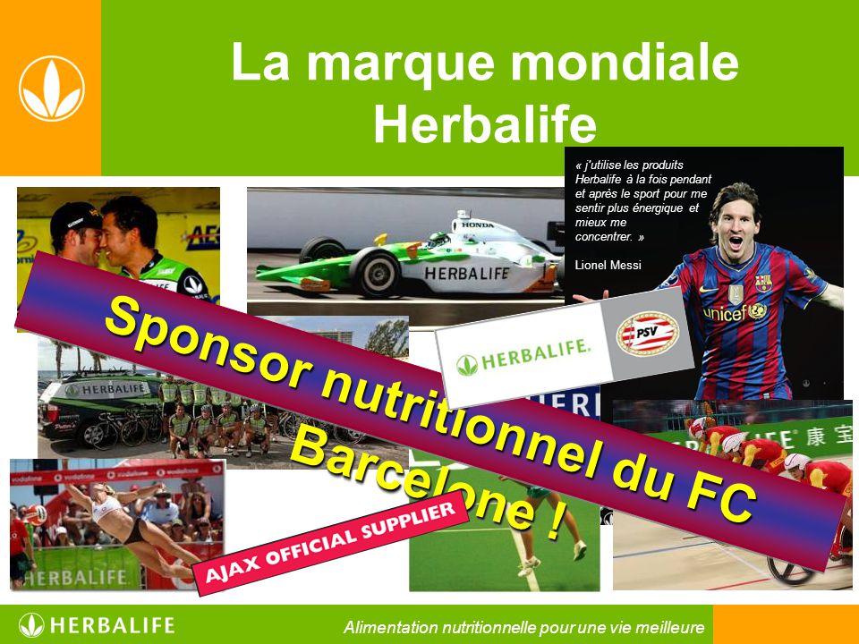 La marque mondiale Herbalife « j'utilise les produits Herbalife à la fois pendant et après le sport pour me sentir plus énergique et mieux me concentr