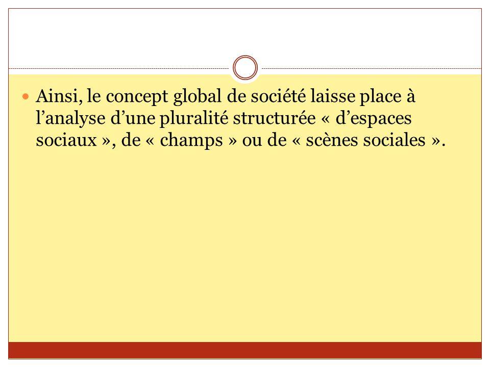 Ainsi, le concept global de société laisse place à l'analyse d'une pluralité structurée « d'espaces sociaux », de « champs » ou de « scènes sociales »