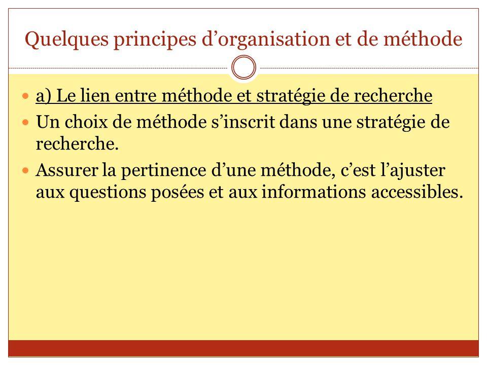 Quelques principes d'organisation et de méthode a) Le lien entre méthode et stratégie de recherche Un choix de méthode s'inscrit dans une stratégie de