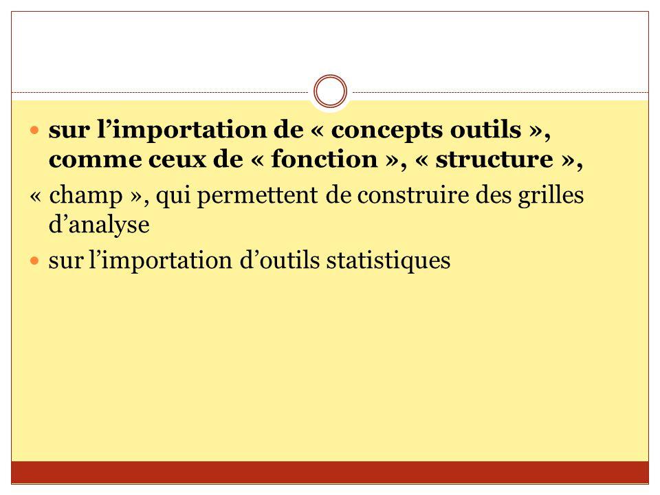 sur l'importation de « concepts outils », comme ceux de « fonction », « structure », « champ », qui permettent de construire des grilles d'analyse sur