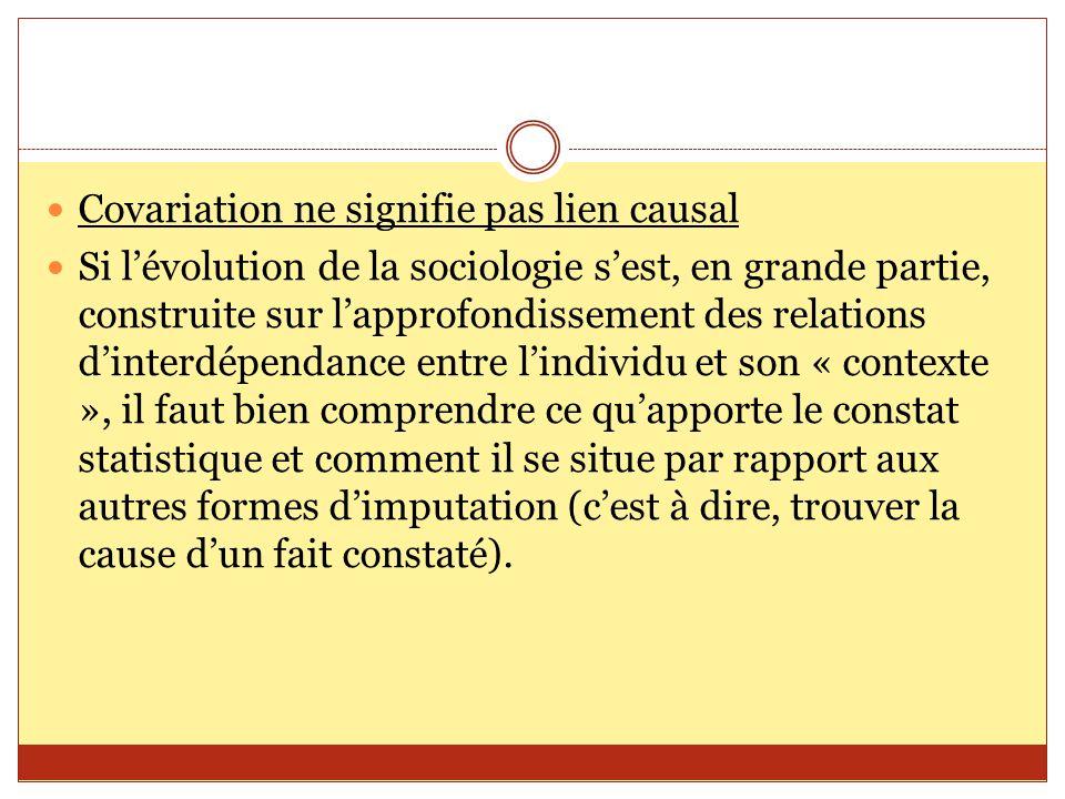 Covariation ne signifie pas lien causal Si l'évolution de la sociologie s'est, en grande partie, construite sur l'approfondissement des relations d'in