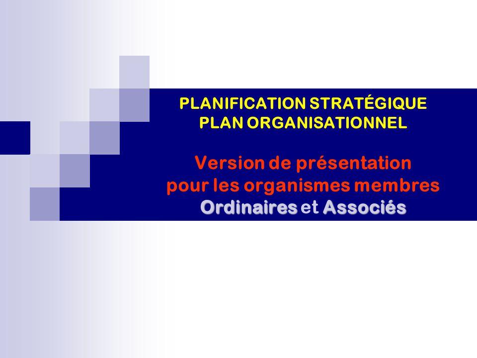 OrdinairesAssociés PLANIFICATION STRATÉGIQUE PLAN ORGANISATIONNEL Version de présentation pour les organismes membres Ordinaires et Associés