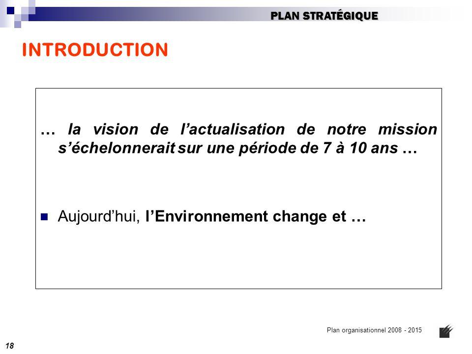 INTRODUCTION … la vision de l'actualisation de notre mission s'échelonnerait sur une période de 7 à 10 ans … Aujourd'hui, l'Environnement change et …