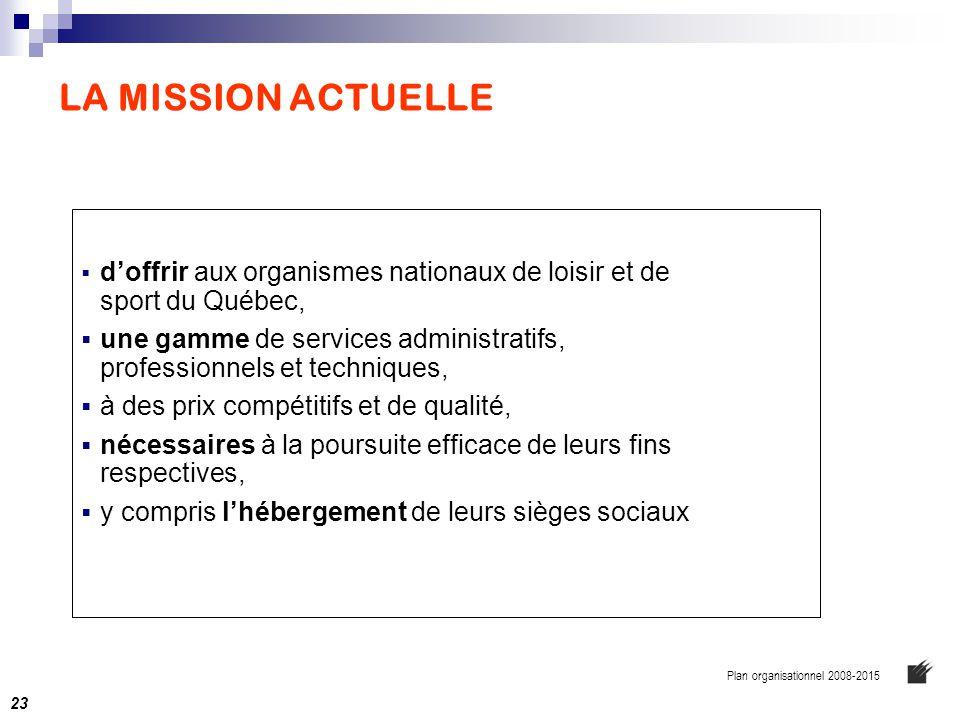 LA MISSION ACTUELLE  d'offrir aux organismes nationaux de loisir et de sport du Québec,  une gamme de services administratifs, professionnels et tec