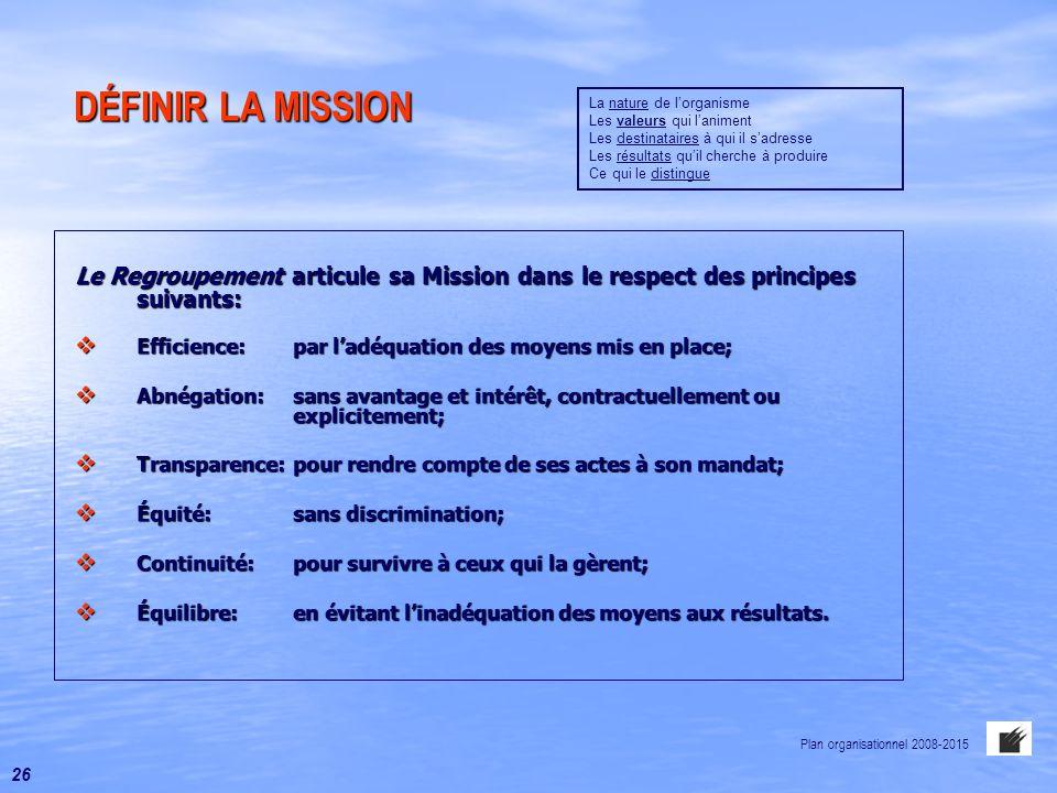DÉFINIR LA MISSION DÉFINIR LA MISSION Le Regroupement articule sa Mission dans le respect des principes suivants:  Efficience:par l'adéquation des mo