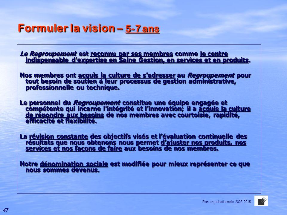 Formuler la vision – 5-7 ans Le Regroupement est reconnu par ses membres comme le centre indispensable d'expertise en Saine Gestion, en services et en