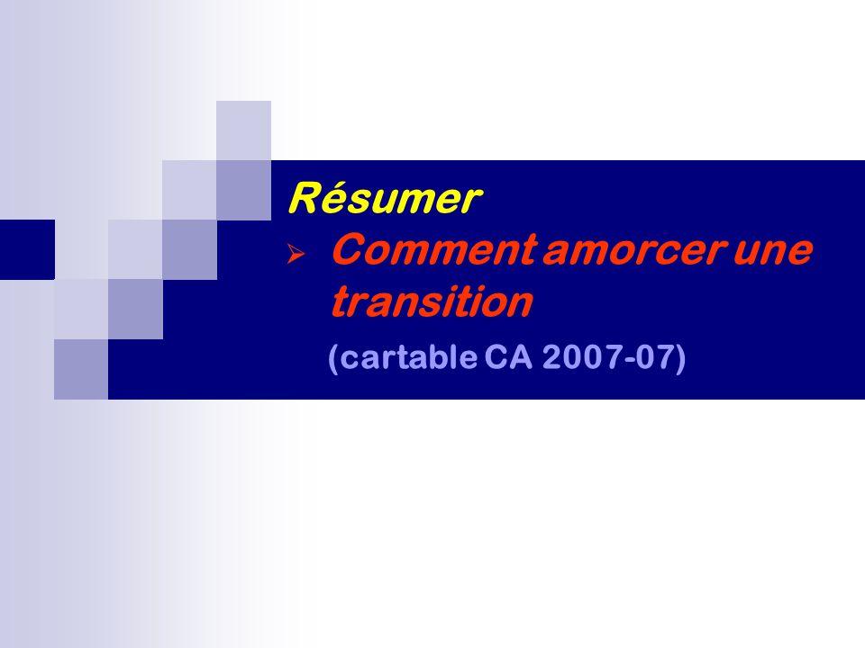 Résumer  Comment amorcer une transition (cartable CA 2007-07)