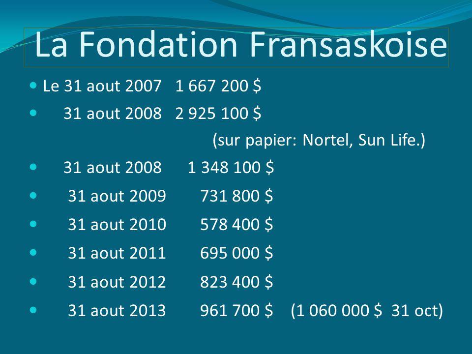 La Fondation Fransaskoise Le 31 aout 2007 1 667 200 $ 31 aout 2008 2 925 100 $ (sur papier: Nortel, Sun Life.) 31 aout 2008 1 348 100 $ 31 aout 2009 731 800 $ 31 aout 2010 578 400 $ 31 aout 2011 695 000 $ 31 aout 2012 823 400 $ 31 aout 2013 961 700 $ (1 060 000 $ 31 oct)