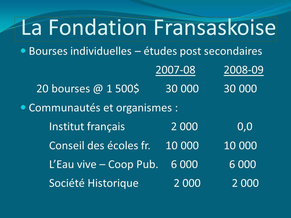 La Fondation Fransaskoise Bourses individuelles – études post secondaires 2007-082008-09 20 bourses @ 1 500$30 00030 000 Communautés et organismes : Institut français 2 000 0,0 Conseil des écoles fr.10 00010 000 L'Eau vive – Coop Pub.