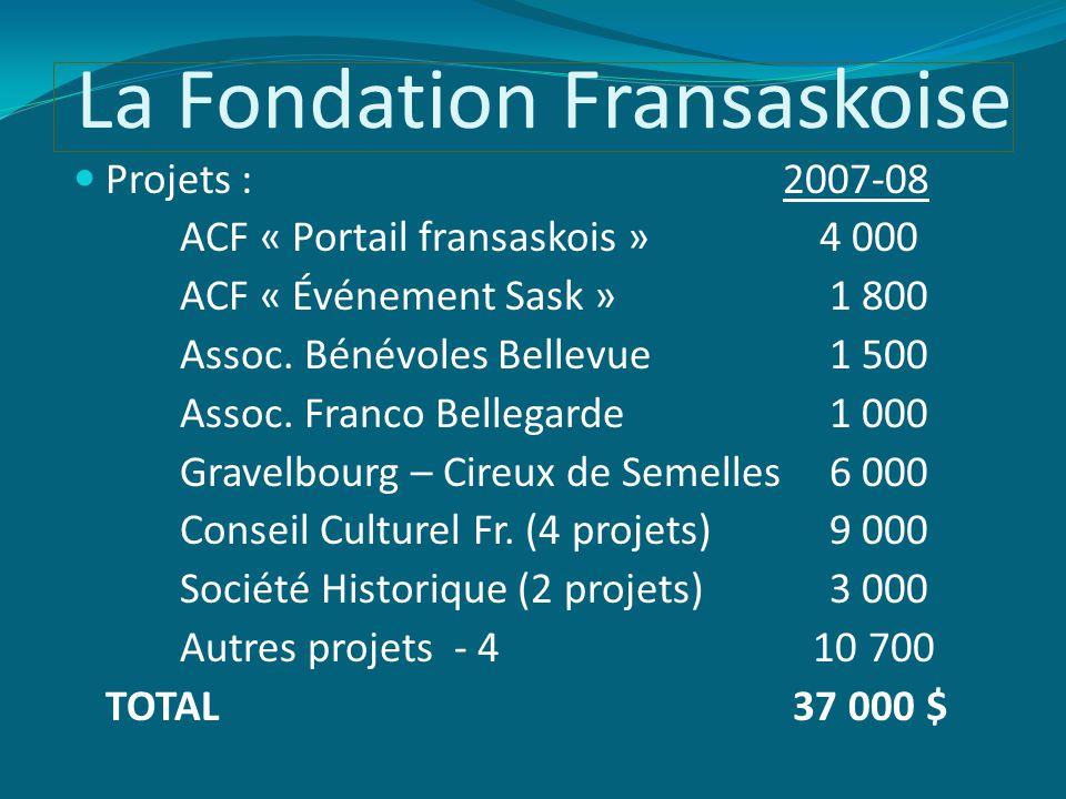 La Fondation Fransaskoise Projets : 2007-08 ACF « Portail fransaskois »4 000 ACF « Événement Sask » 1 800 Assoc.