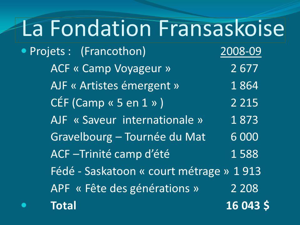 La Fondation Fransaskoise Projets : (Francothon) 2008-09 ACF « Camp Voyageur »2 677 AJF « Artistes émergent »1 864 CÉF (Camp « 5 en 1 » )2 215 AJF « Saveur internationale »1 873 Gravelbourg – Tournée du Mat6 000 ACF –Trinité camp d'été 1 588 Fédé - Saskatoon « court métrage » 1 913 APF « Fête des générations »2 208 Total 16 043 $