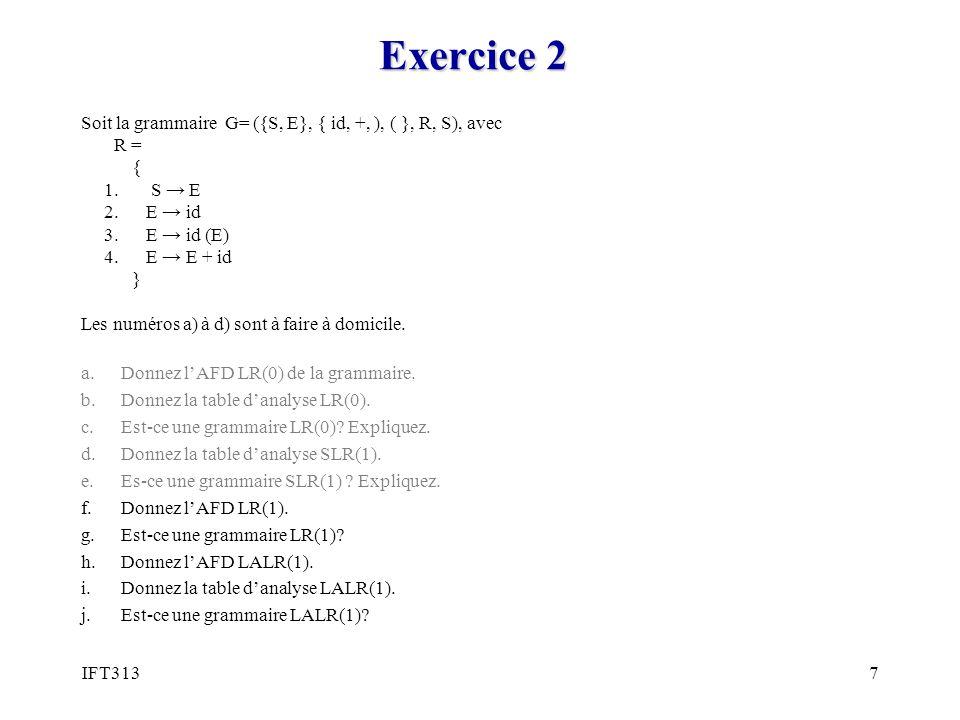 7 Exercice 2 Soit la grammaire G= ({S, E}, { id, +, ), ( }, R, S), avec R = { 1.
