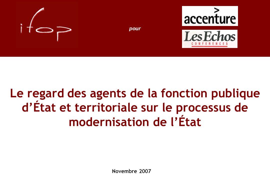 Le regard des agents de la fonction publique d'État et territoriale sur le processus de modernisation de l'État Novembre 2007 pour