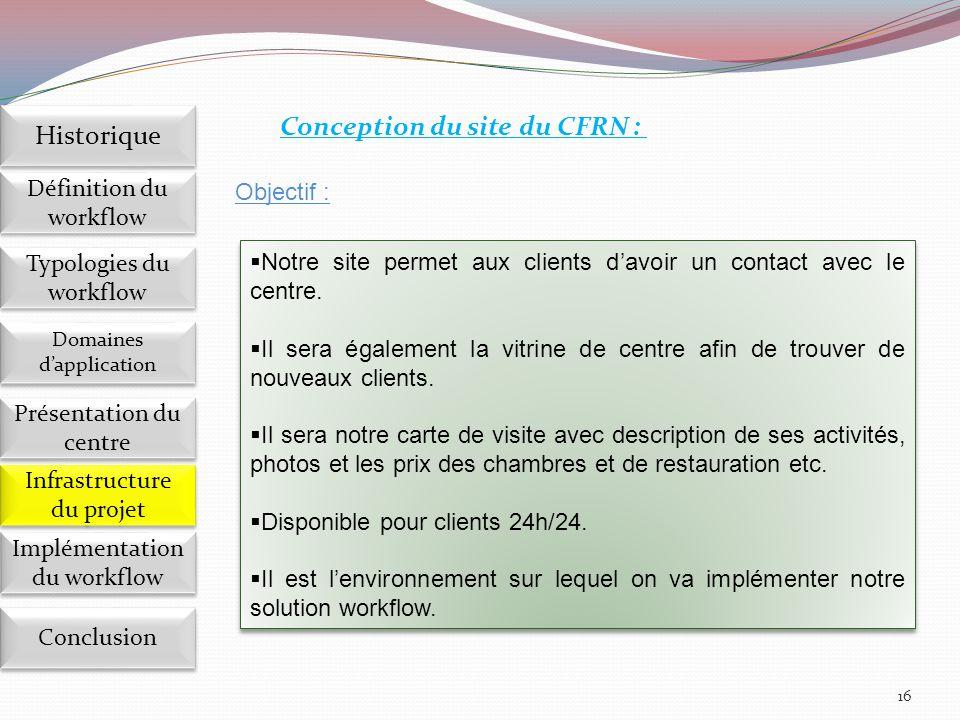 16 Conception du site du CFRN :  Notre site permet aux clients d'avoir un contact avec le centre.  Il sera également la vitrine de centre afin de tr