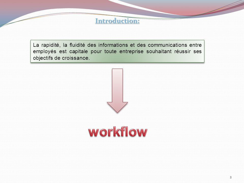 Implémentation du workflow Définition du workflow Historique Présentation du centre Présentation du centre Infrastructure du projet Conclusion Plan : Typologies du workflow Les domaines d'application
