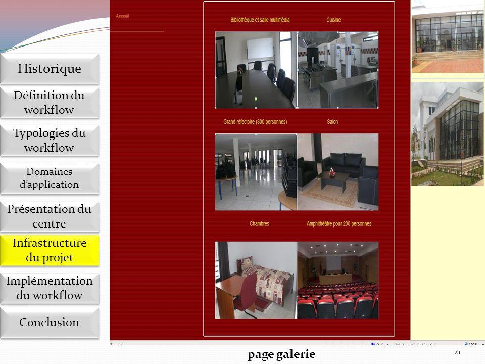 21 page galerie Implémentation du workflow Définition du workflow Historique Domaines d'application Présentation du centre Présentation du centre Infr