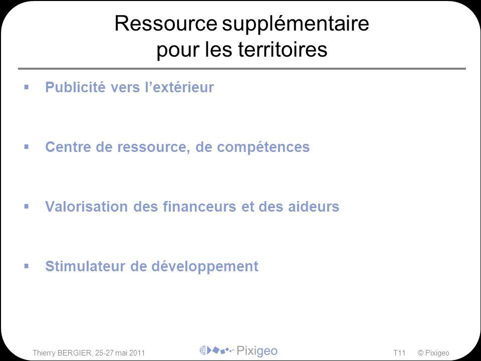 Thierry BERGIER, 25-27 mai 2011T11 © Pixigeo Ressource supplémentaire pour les territoires  Publicité vers l'extérieur –Montrer les projets locaux au