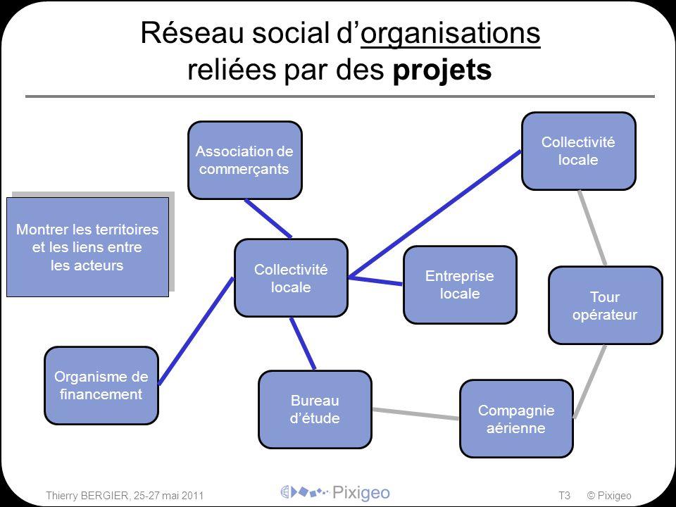 Thierry BERGIER, 25-27 mai 2011T3 © Pixigeo Réseau social d'organisations reliées par des projets Organisme de financement Collectivité locale Bureau