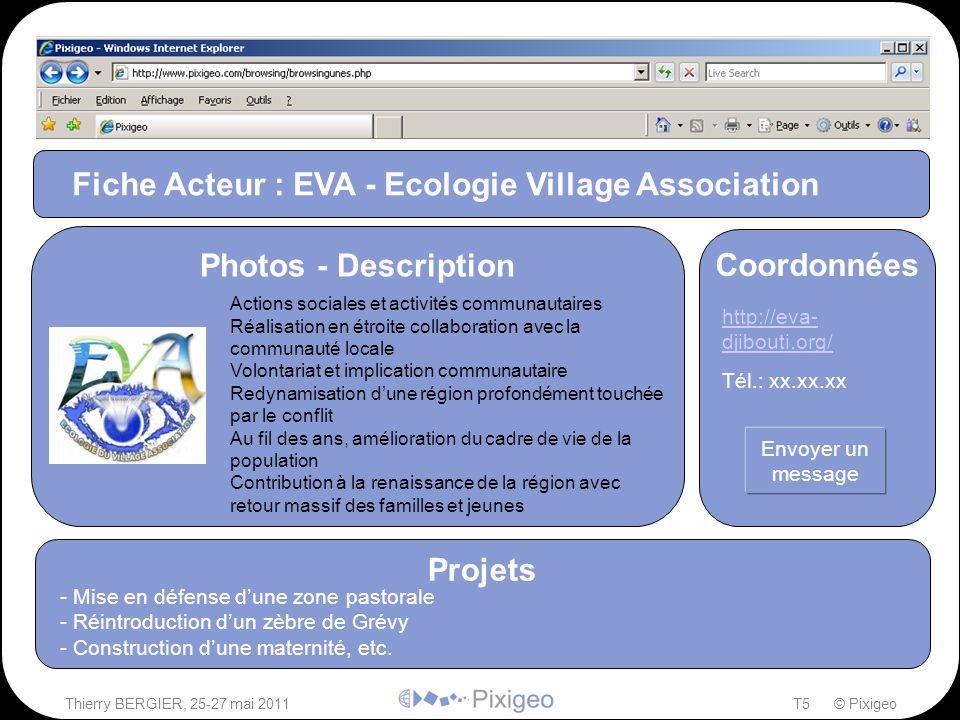 Thierry BERGIER, 25-27 mai 2011T5 © Pixigeo ² Fiche Acteur : EVA - Ecologie Village Association Projets - Mise en défense d'une zone pastorale - Réint