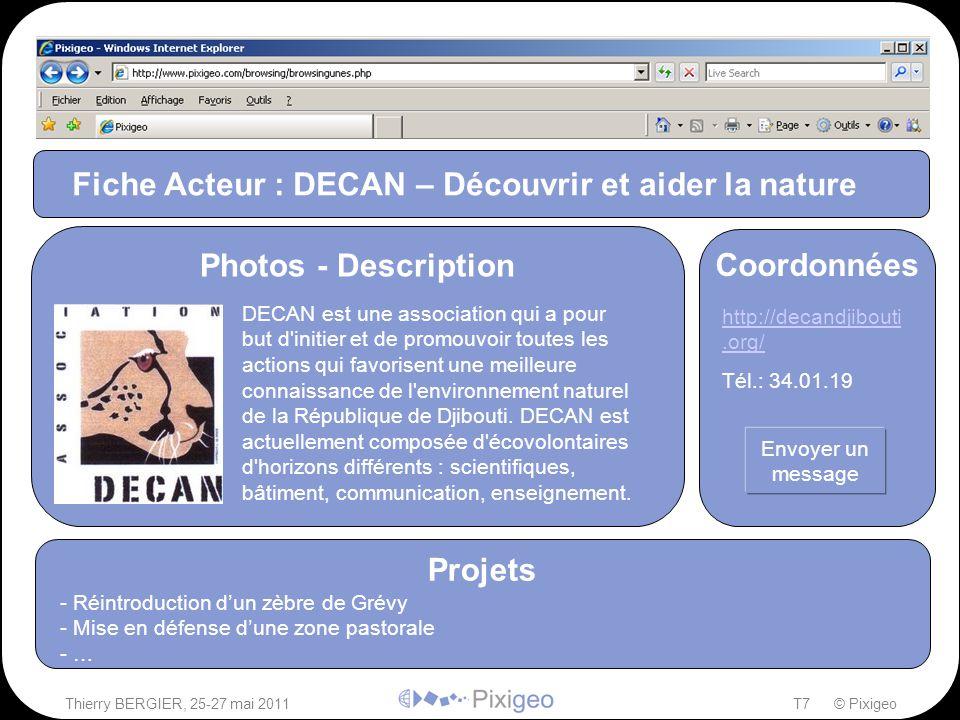 Thierry BERGIER, 25-27 mai 2011T7 © Pixigeo ² Fiche Acteur : DECAN – Découvrir et aider la nature Projets - Réintroduction d'un zèbre de Grévy - Mise