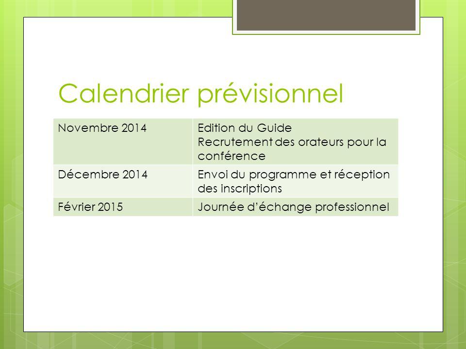Calendrier prévisionnel Novembre 2014Edition du Guide Recrutement des orateurs pour la conférence Décembre 2014Envoi du programme et réception des inscriptions Février 2015Journée d'échange professionnel
