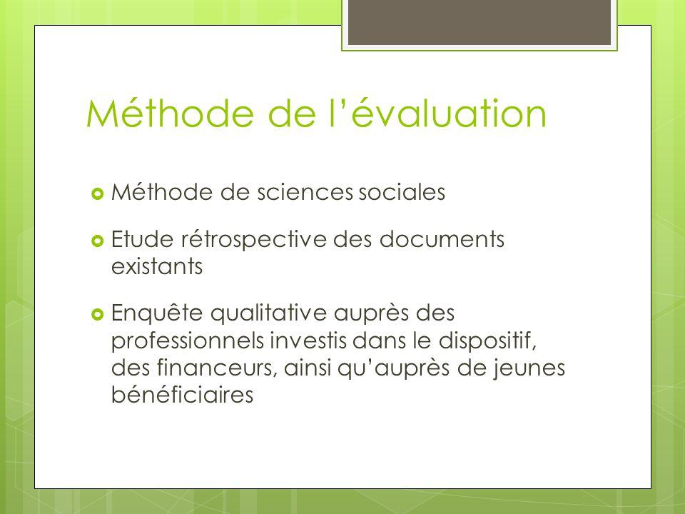 Méthode de l'évaluation  Méthode de sciences sociales  Etude rétrospective des documents existants  Enquête qualitative auprès des professionnels investis dans le dispositif, des financeurs, ainsi qu'auprès de jeunes bénéficiaires